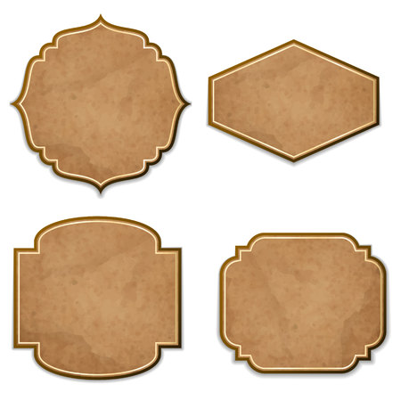 leather texture: Set of leather realistic vintage vector labels
