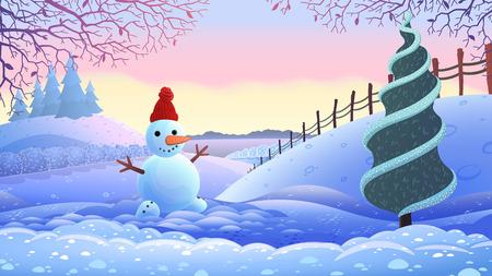 winter holiday landscape. vector illustration.