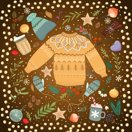 Stack of cozy knitted sweaters and lantern on a table Illustration