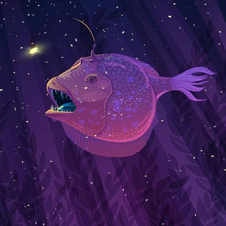 Vector angler fish in underwater scene