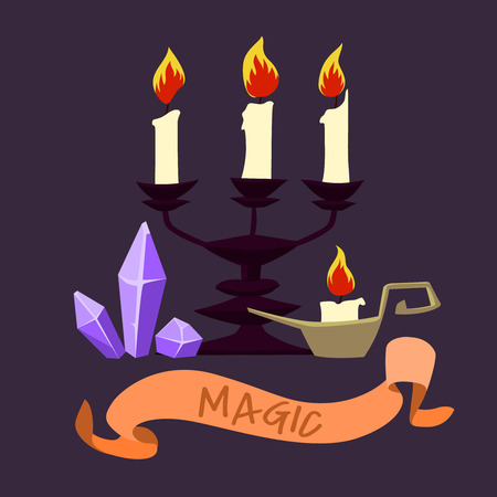 Halloween candles and crystals. Vector design for prints, tshirts, party posters and banners. Illustration