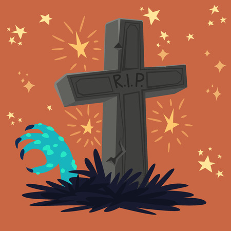 Halloween graveyard tomb with zombie's hand. Vector design for prints, tshirts, party posters and banners.