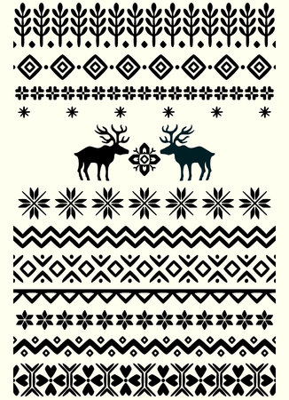 Vector ugly sweater seamless borders with norway ornament. Pattern brushes collection