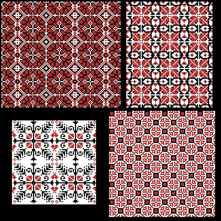 Hungarian pixel pattern set for cross-stitch. Vector seamless background. Ilustrace