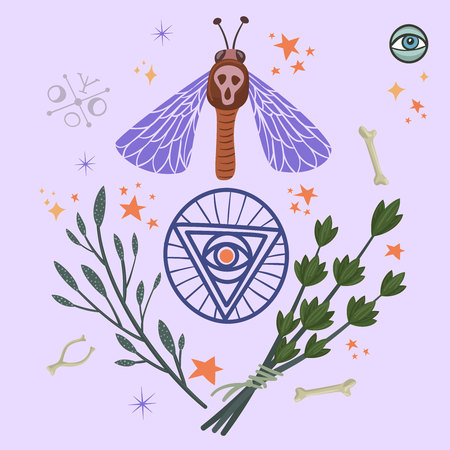 Halloween ritual items with moth, pentagram and herbs. Vector design for prints, tshirts, party posters and banners. Banque d'images - 127617978