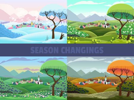 Cuatro estaciones de la vista de la aldea: primavera, verano, otoño e invierno. Paisaje de dibujos animados de vector
