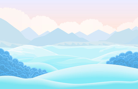 Vector winter horizontal landscape with snow capped valley. Cartoon illustration Illustration