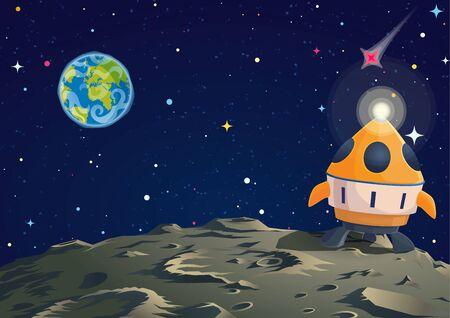 Ilustracja ziemi księżycowej z rakietą i wzrokiem Ziemi. Ilustracja kreskówka wektor