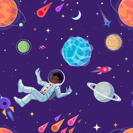 Spaceman at open space floating in antigravity. Vector cartoon seamless pattern