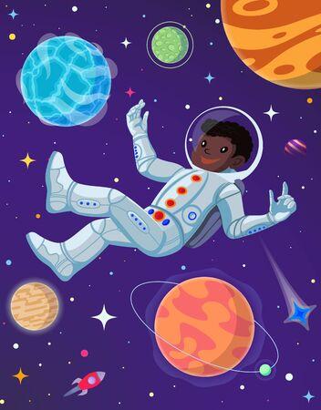 Spaceman at open space floating in antigravity. Vector cartoon illustration Illusztráció
