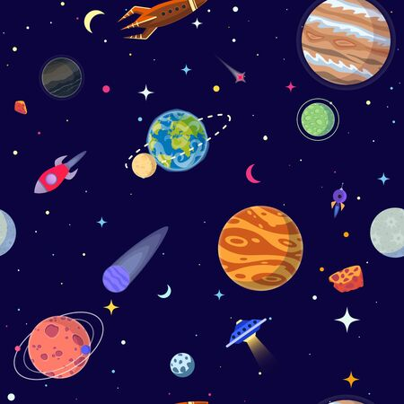 Seamless pattern of planets in open space. Vector illustration cartoon style