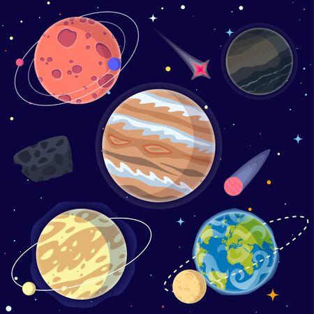 Conjunto de planetas de dibujos animados y elementos espaciales que incluyen la Tierra, la Luna y Júpiter. Ilustración vectorial