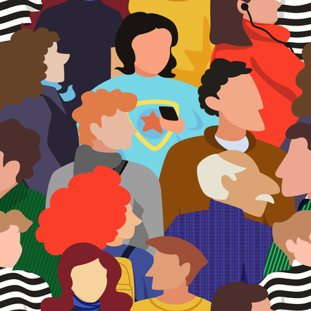 Seamless pattern of people crowd in a bold modern style Illustration