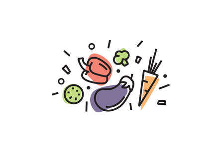 Set of colorful vegetables icons isolated. Trendy linear style, healthy lifestyle. food icons