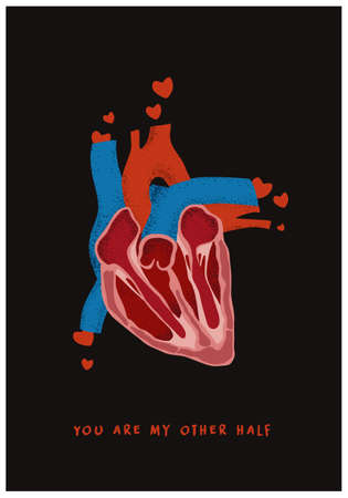 Valentines Day postcard with anatomical heart. Poster for valentine day or wedding with real heart and Quote about love