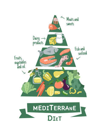 Infographic diet pyramid in flat design. Vecteurs