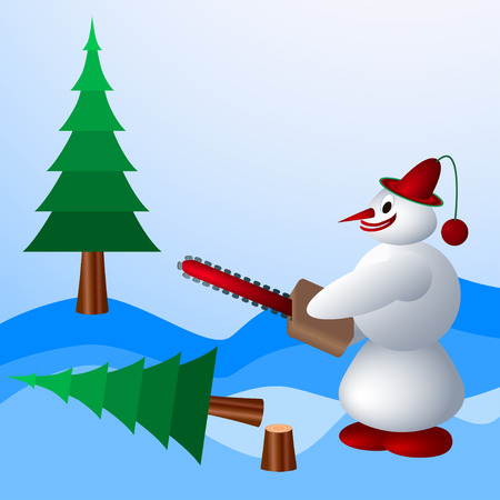 spherule: Snowman destroys trees. Illustration Illustration