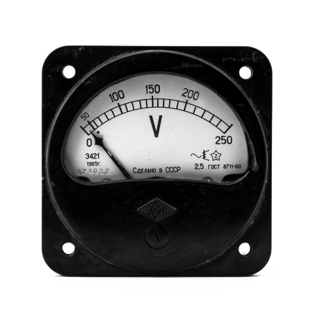 ammeter: Electric measuring device isolated on the white background.