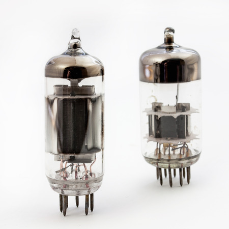 triode: Two old vacuum tubes isolated on the white background