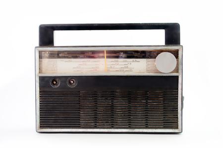 transistor: transistor de radio viejo aislado en blanco. Foto de archivo