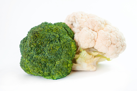 brocoli: Fresh green broccoli on white background . Isolated .