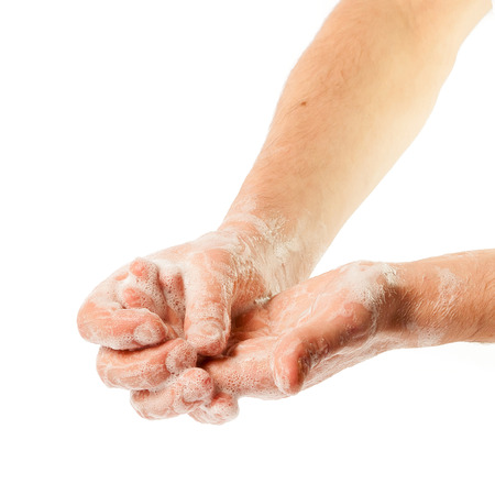 sudsy: Hands in the foam on white background (isolated)