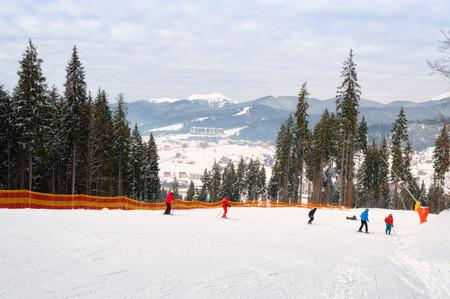 piste: Ski piste in the resort of Bukovel in the Carpathians .