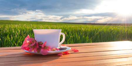 Mug with tea on the table in the green field .