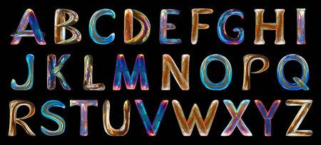 Multicolored alphabet for children on black background .