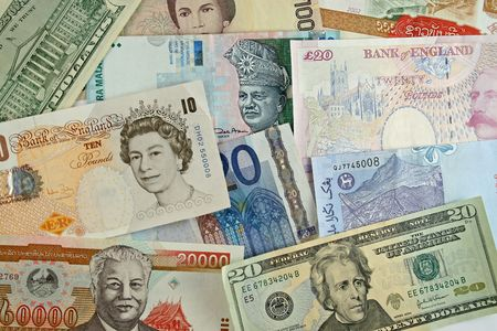 organised: Foreign currency organised as a background