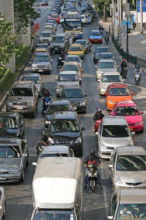 bottleneck: Grid lock traffic during rush hour in Bangkok