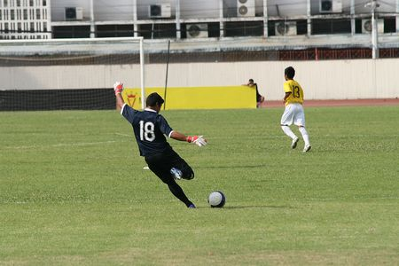 Football (soccer) player takes a goal kick