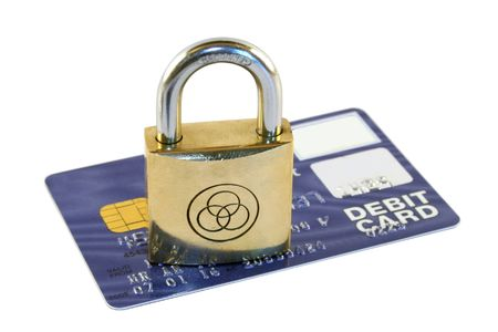 Credit card security showing a padlock and bank card photo