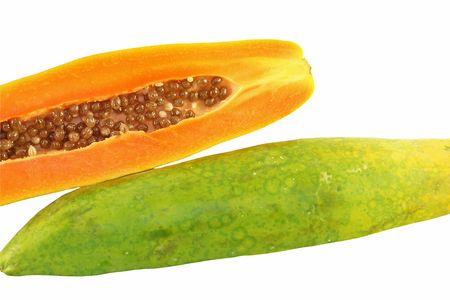 Cut papaya fruit showing seeds Stock Photo - 888476
