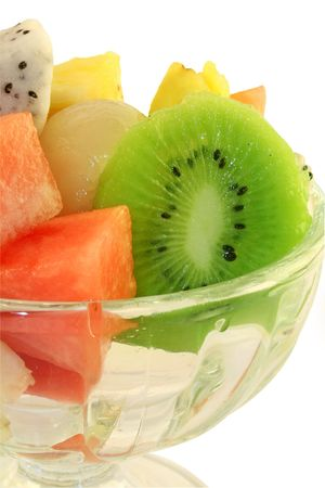 Fresh tropical fruit salad in a glass serving dish Stock Photo - 888499