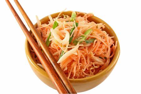 A bowl of stir fried Thai pink noodles