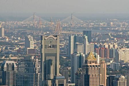 View over Bangkok looking towards the Chao Praya River and bridges photo