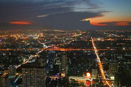 Bangkok cityscape after sunset