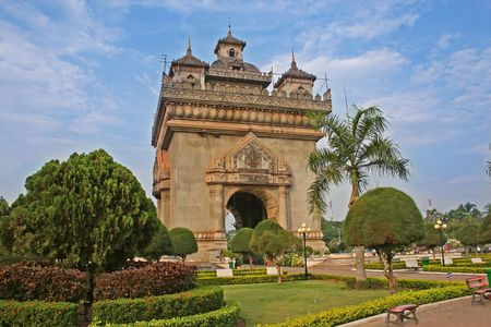 vientiane:  Patuxai Victory Monument in the capital of Vientiane, Laos Stock Photo