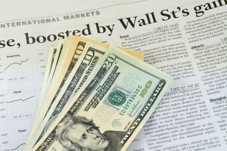 US dollars on the business section of a newspaper Stock Photo - 946164