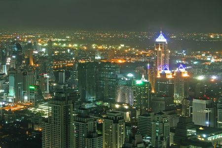 nightime: Nightime view over downtown Bangkok in Thailand