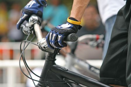 Close up of handlebars of a mountain biker during a competition Stock Photo - 963288