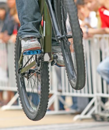 Close up of a mountain bike competitor performing a jump Stock Photo - 1017766