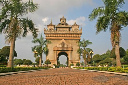 vientiane: The large victory monument in Vientiane known as Patuxai was modeled on the Arc de Triomphe