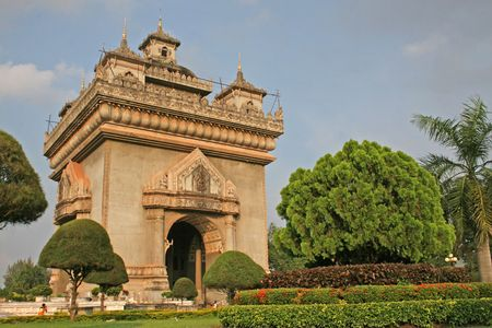 vientiane: Victory Monument  (Patuxai) in the capital of Vientiane, Laos  Stock Photo