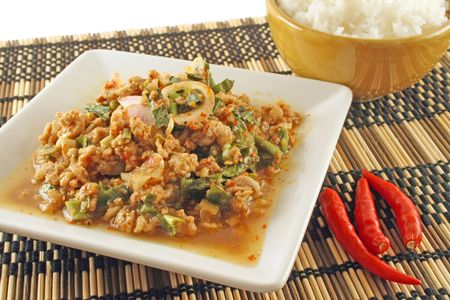 known: A spicy minced pork dish known as Laab, from Thailand Stock Photo