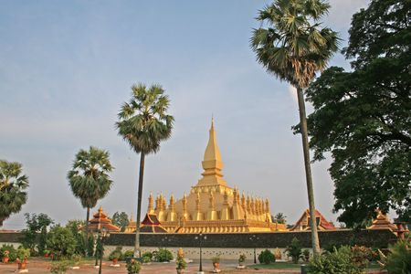 vientiane: The golden Pha That Luang monument in Vientiane, Laos