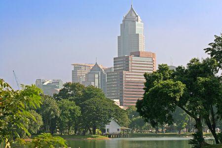 lumpini: View across the lake in Lumpini Park in Bangkok, Thailand