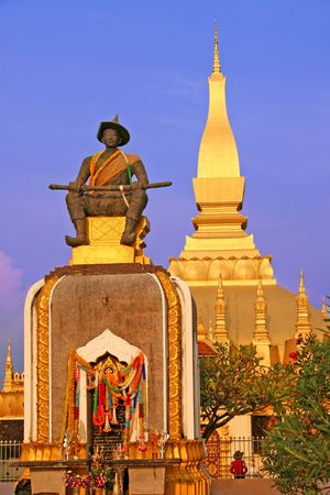 vientiane: The golden Pha That Luang monument and statue in Vientiane, Laos