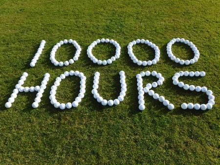 10000 hours of golf balls Stock Photo